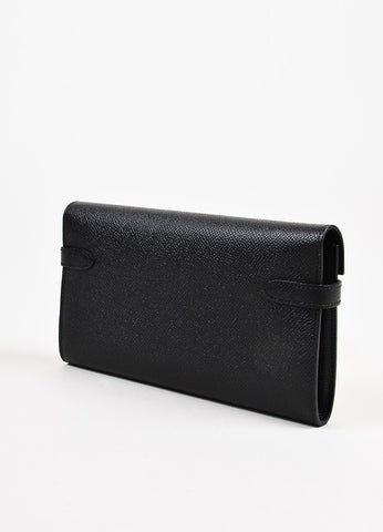 "Hermes Black and Silver Toned 'Epsom' Calfskin Leather ""Kelly"" Wallet Sideview"
