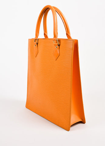 "Louis Vuitton ""Sac Plat PM"" Orange GHW Epi Leather Tote Handbag angle"