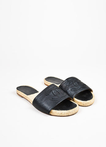 Chanel Black Leather 'CC' Stitched Slide On Espadrille Flat Sandals  Frontview