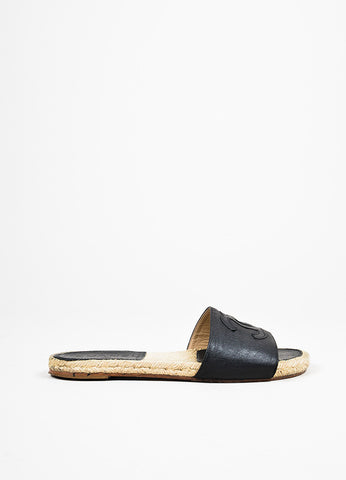 Chanel Black Leather 'CC' Stitched Slide On Espadrille Flat Sandals Sideview