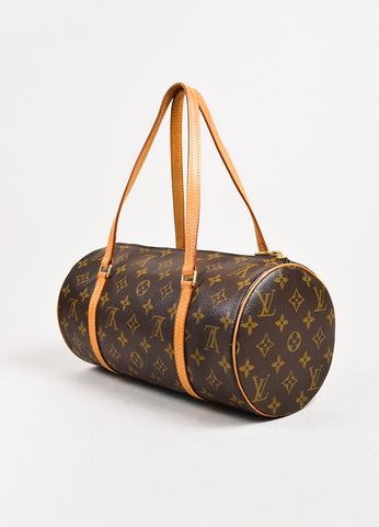 "Louis Vuitton ""Papillon 30"" Brown Tan Coated Canvas Monogram Bag Back"