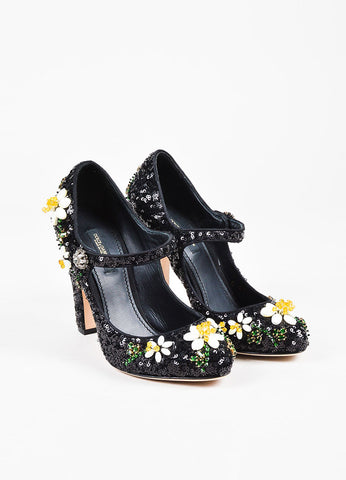 Dolce & Gabbana Black Sequined & Beaded Floral Mary Jane Pumps Frontview