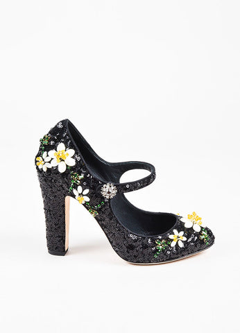 Dolce & Gabbana Black Sequined & Beaded Floral Mary Jane Pumps Sideview