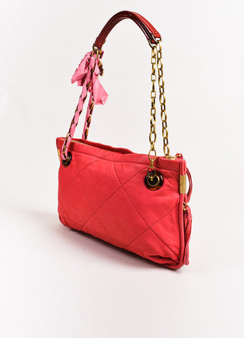 "Lanvin Dark Pink Quilted Leather ""Amalia"" Gold Tone Chain Link Shoulder Bag angle"