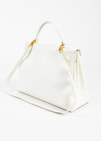 "Hermes White Swift Leather ""Kelly Retourne"" 32 cm Satchel Bag Back"