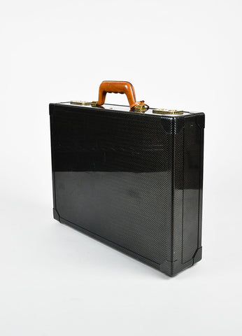 "Hermes Graphite Carbon Fiber 18k Gold Plated ""Attache"" Briefcase Sideview"