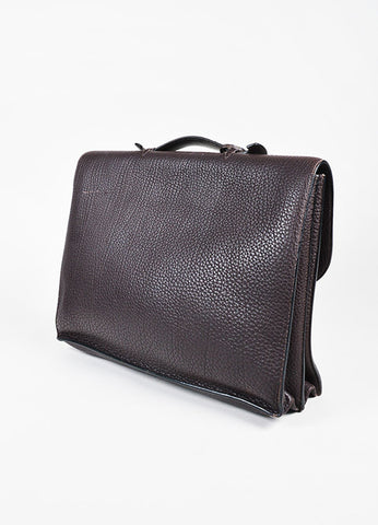 "Hermes ""Sac a Depeches"" Dark Brown SHW Fjord Leather Briefcase Sideview"