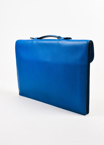 Hermes Blue and Gold Toned 'Veau Grain Lisse' Leather Briefcase
