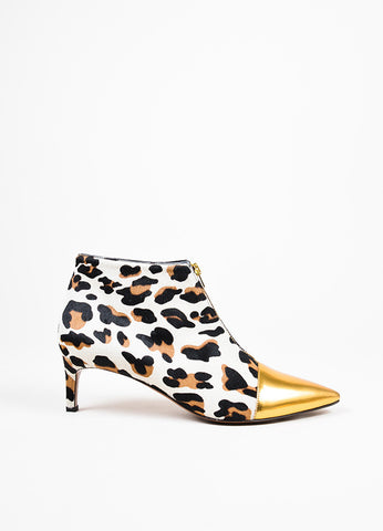 Marni Black, Tan, and Gold Leopard Print Pony Hair Cap Toe Ankle Booties Sideview