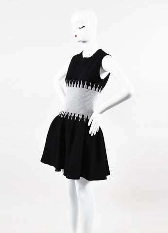 Alaia Black and White Sleeveless Fit and Flare Dress Sideview