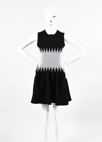 Alaia Black and White Sleeveless Fit and Flare Dress Frontview