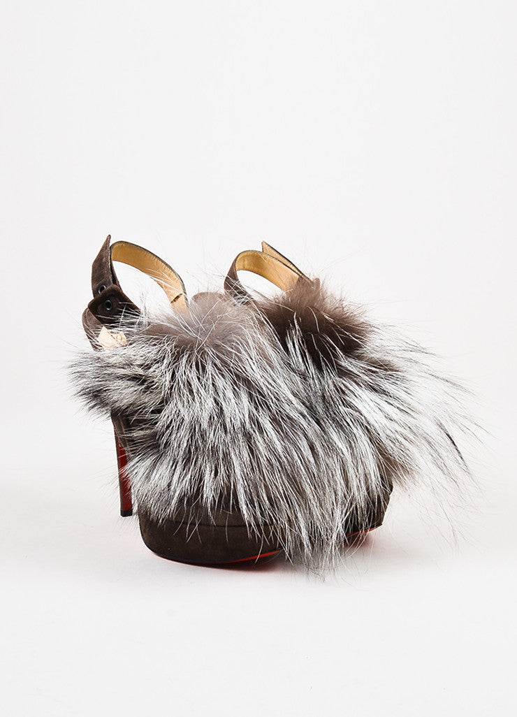 "Christian Louboutin Dark Brown Suede Fox Fur ""Splash"" Platform Pumps Frontview"