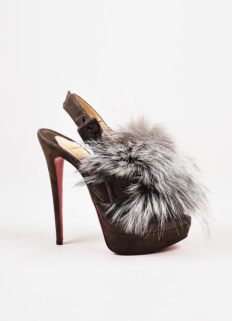 "Christian Louboutin Dark Brown Suede Fox Fur ""Splash"" Platform Pumps Sideview"