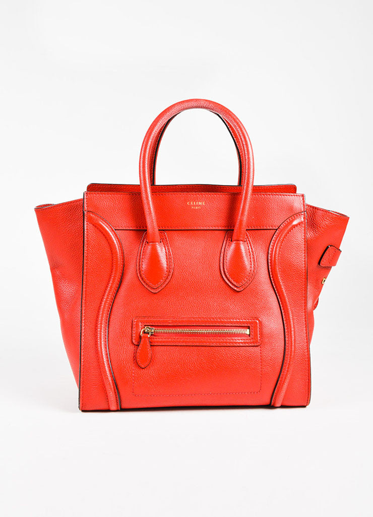 "Celine Red Drummed Grained Leather Paneled ""Mini Luggage"" Tote Bag Frontview"