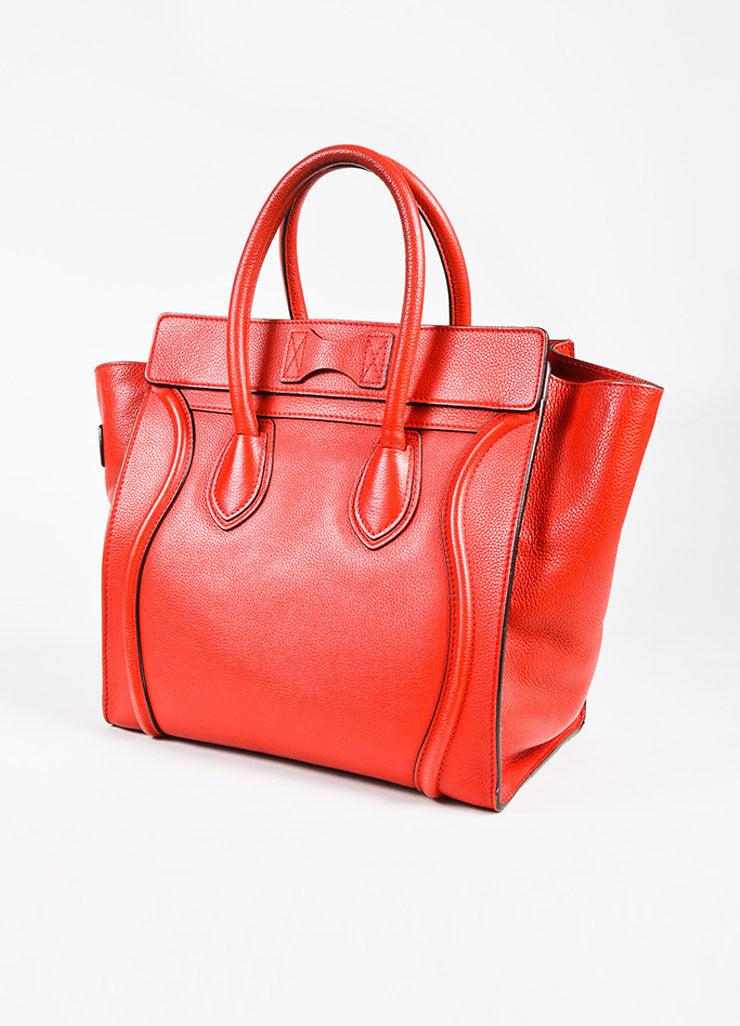 "Celine Red Drummed Grained Leather Paneled ""Mini Luggage"" Tote Bag Sideview"