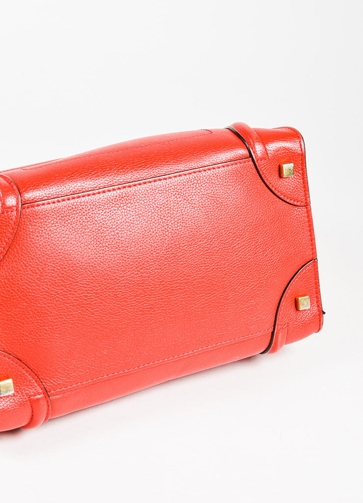 "Celine Red Drummed Grained Leather Paneled ""Mini Luggage"" Tote Bag Bottom View"
