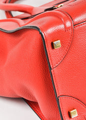 "Celine Red Drummed Grained Leather Paneled ""Mini Luggage"" Tote Bag Detail"