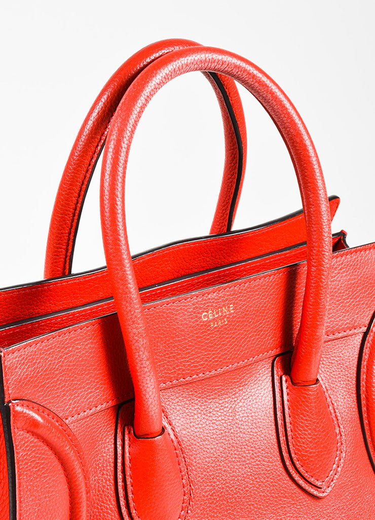 "Celine Red Drummed Grained Leather Paneled ""Mini Luggage"" Tote Bag Detail 2"