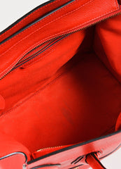 "Celine Red Drummed Grained Leather Paneled ""Mini Luggage"" Tote Bag Interior"