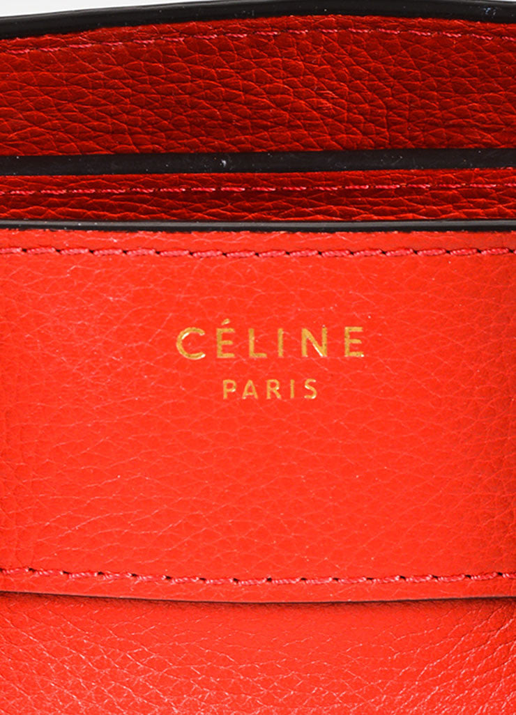 "Celine Red Drummed Grained Leather Paneled ""Mini Luggage"" Tote Bag Brand"