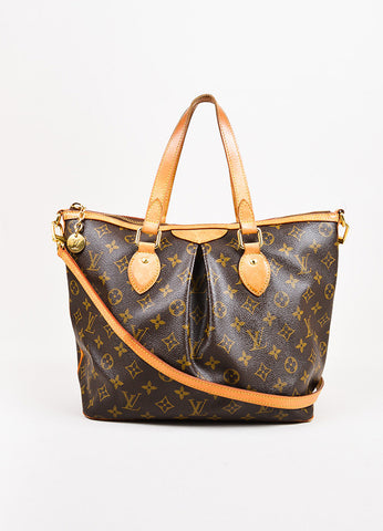 "Louis Vuitton Brown and Tan Coated Canvas Monogram ""Palermo GM"" Shoulder Hobo Bag Frontview"