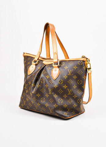 "Louis Vuitton Brown and Tan Coated Canvas Monogram ""Palermo GM"" Shoulder Hobo Bag Sideview"