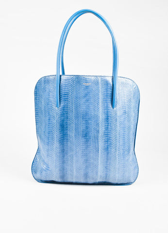 "Nina Ricci Blue Snakeskin ""Irrisor"" Shoulder Tote Bag Front"
