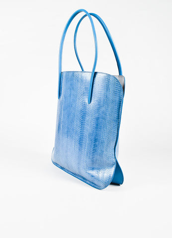 "Nina Ricci Blue Snakeskin ""Irrisor"" Shoulder Tote Bag Back"