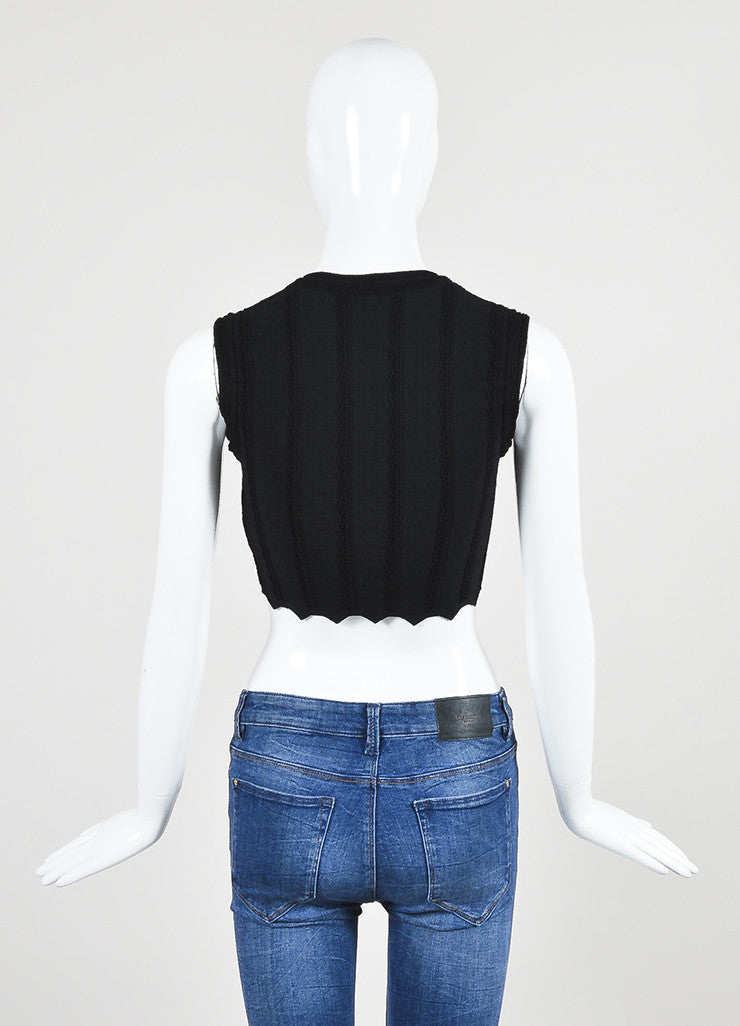 Alaia Black Matelasse Knit Zip Front Sleeveless Fitted Crop Top Backview