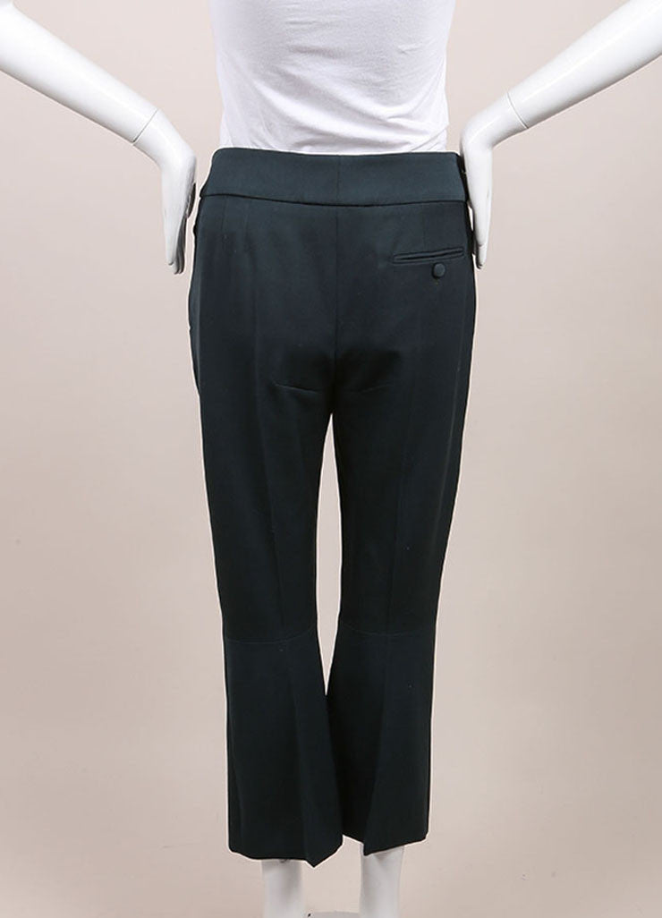 "Alexander McQueen New With Tags Green Wool Cropped ""Grain de Poudre"" Trousers Backview"
