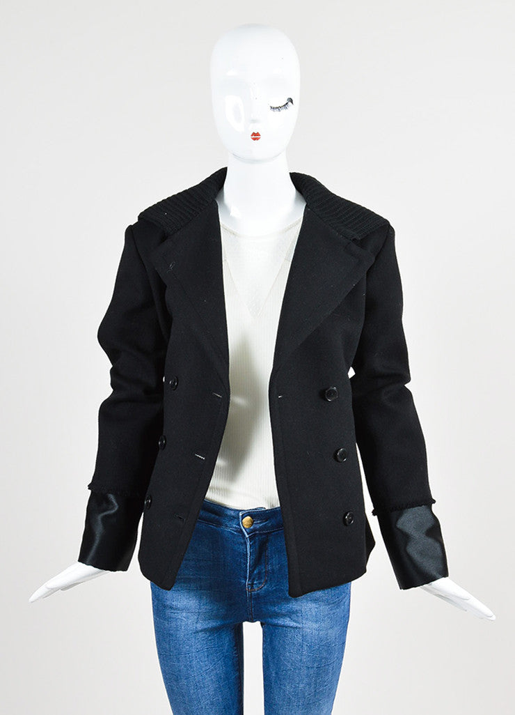 Black Alexander Wang Wool Hooded Double Breasted Peacoat Frontview