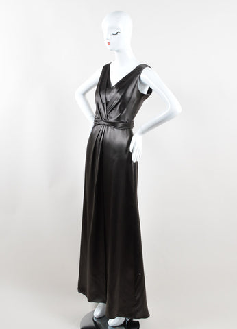 Armani Collezioni Grey Satin Pleated Full Length Sleeveless Gown Sideview