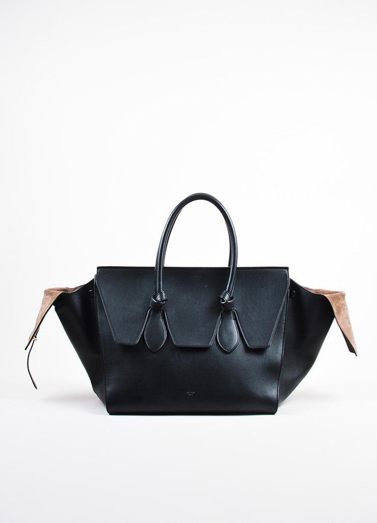 "Celine Black Leather Flap Top ""Medium Tie"" Tote Bag Frontview"