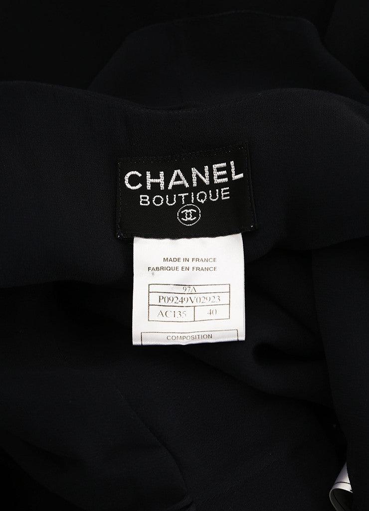 Chanel Black Silk Chiffon Ruffle Double Breasted Sleeveless Wrap Dress Brand