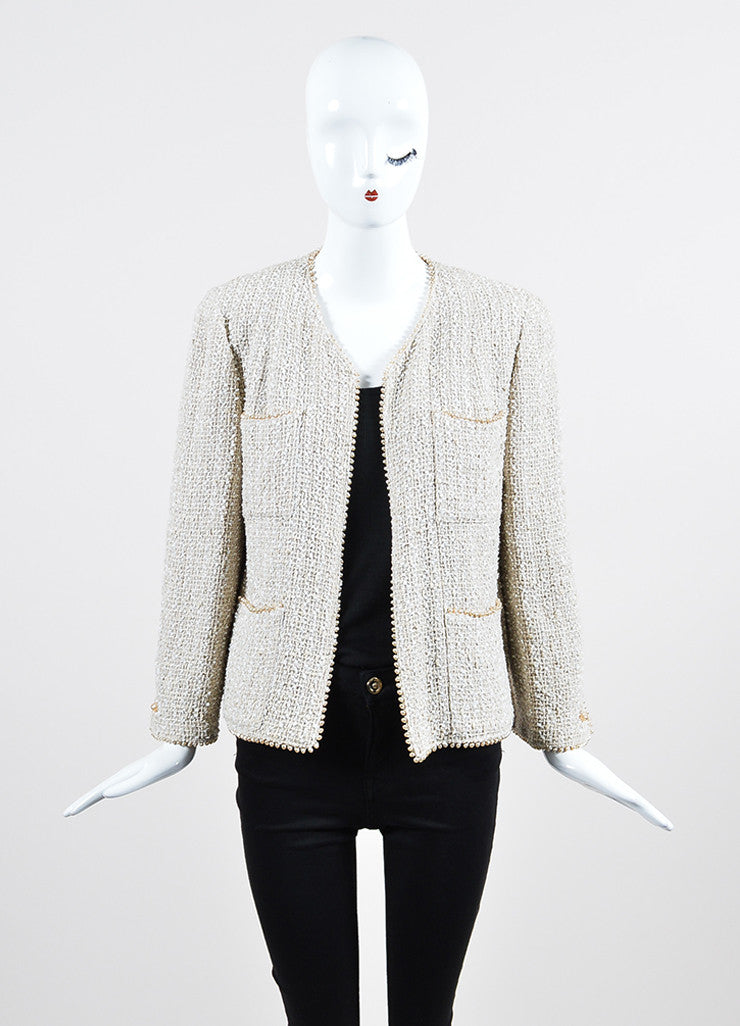 Cream Chanel Woven Tweed Faux Pearl Embellished Jacket Frontview