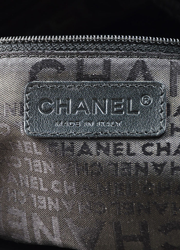 Chanel Black Leather Vertical Quadro Quilted Silver Toned Chain Shoulder Bag Brand