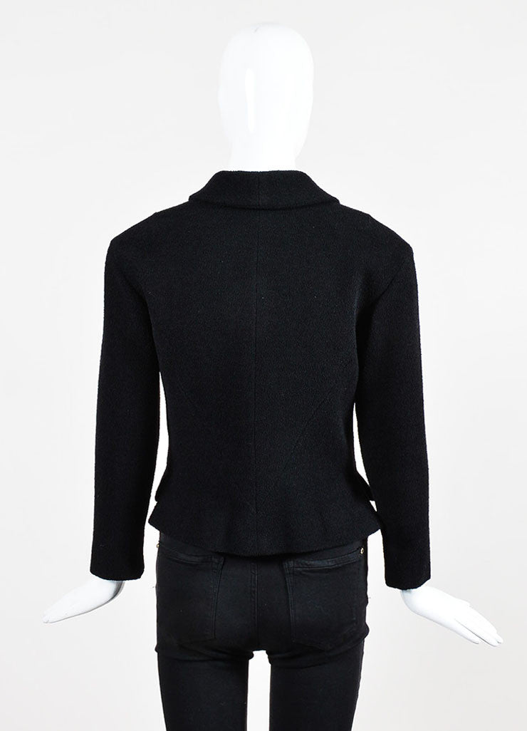 Black Chanel Notch Collar Wool Four Button Classic Short Jacket Backview