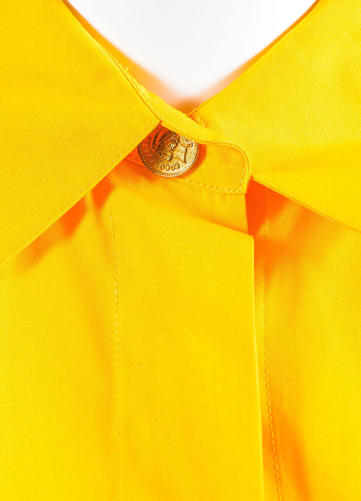 Yellow Chanel Cotton Sleeveless Button Up Shirt Detail