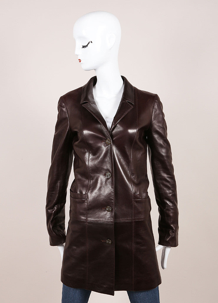 "Chanel Brown Leather ""CC"" Button Long Jacket Frontview"