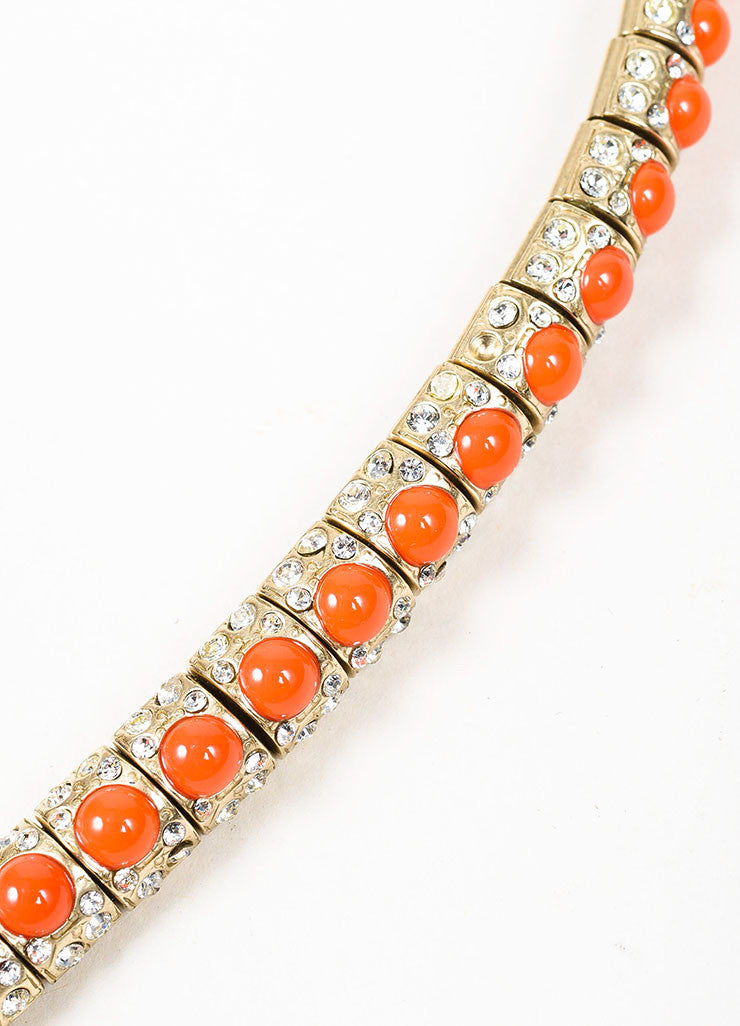 Gold Toned and Orange Chanel Cabochon Rhinestone Crystal 'CC' Snake Choker Necklace Detail