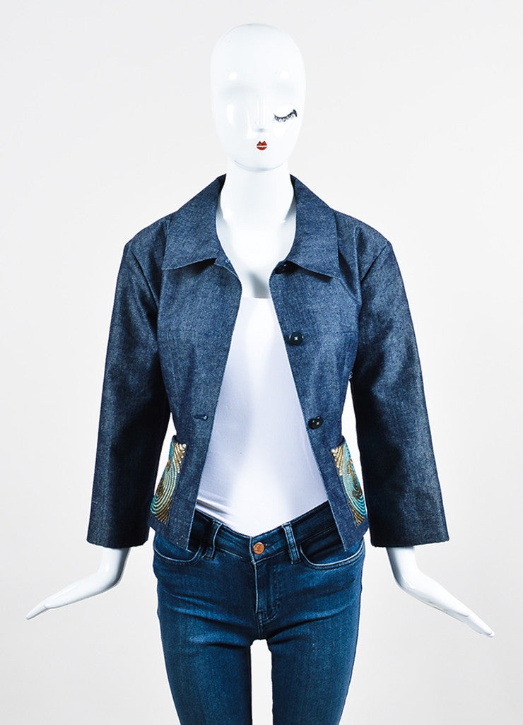 Chanel Blue Denim Sequin Pocket Pointed Collar Jacket Frontview