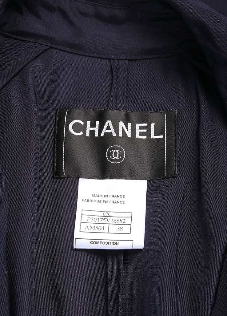 "Chanel Navy Lightweight Silk ""CC"" Buttoned and Belted Trench Coat Brand"