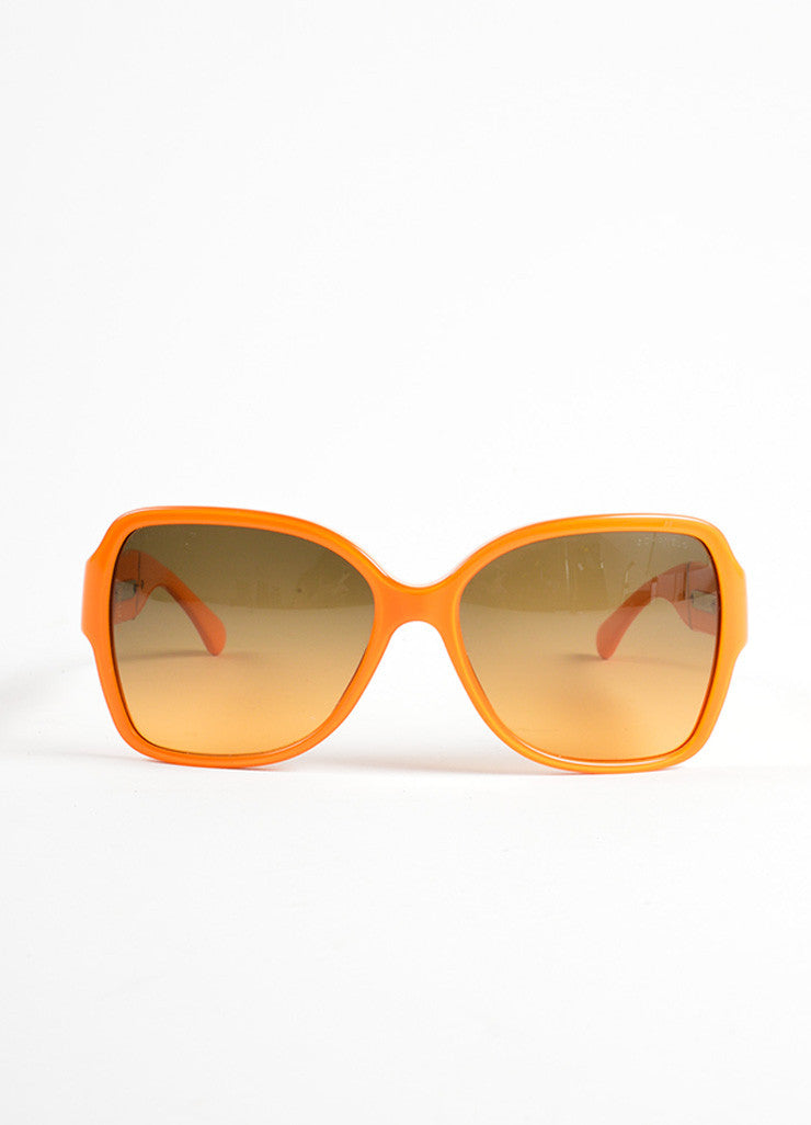 "Chanel Orange Plastic and Patent Leather ""CC"" Oversized ""5230Q"" Sunglasses Frontview"