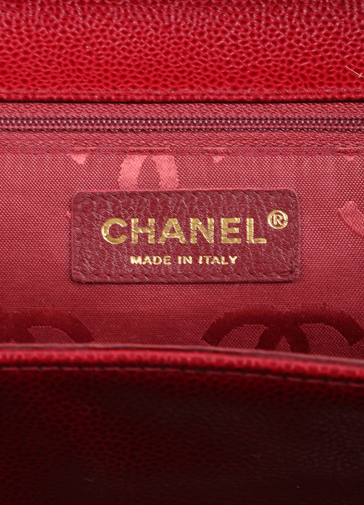 "Chanel Red Caviar Leather ""CC"" Embroidered Logo Flap Handbag Brand"