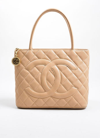Beige Chanel Caviar Leather 'CC' Logo Quilted Medallion Tote Bag Frontview