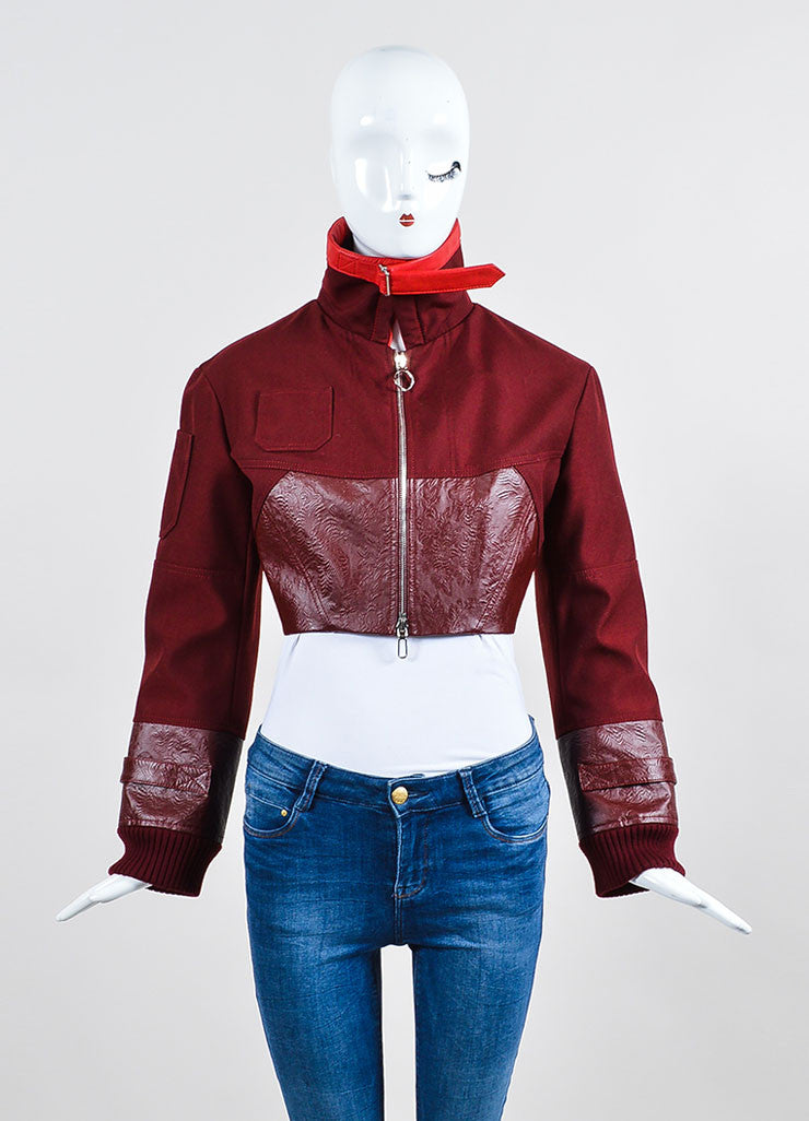Christian Dior Maroon Red Cropped Long Sleeve Jacket Frontview 2