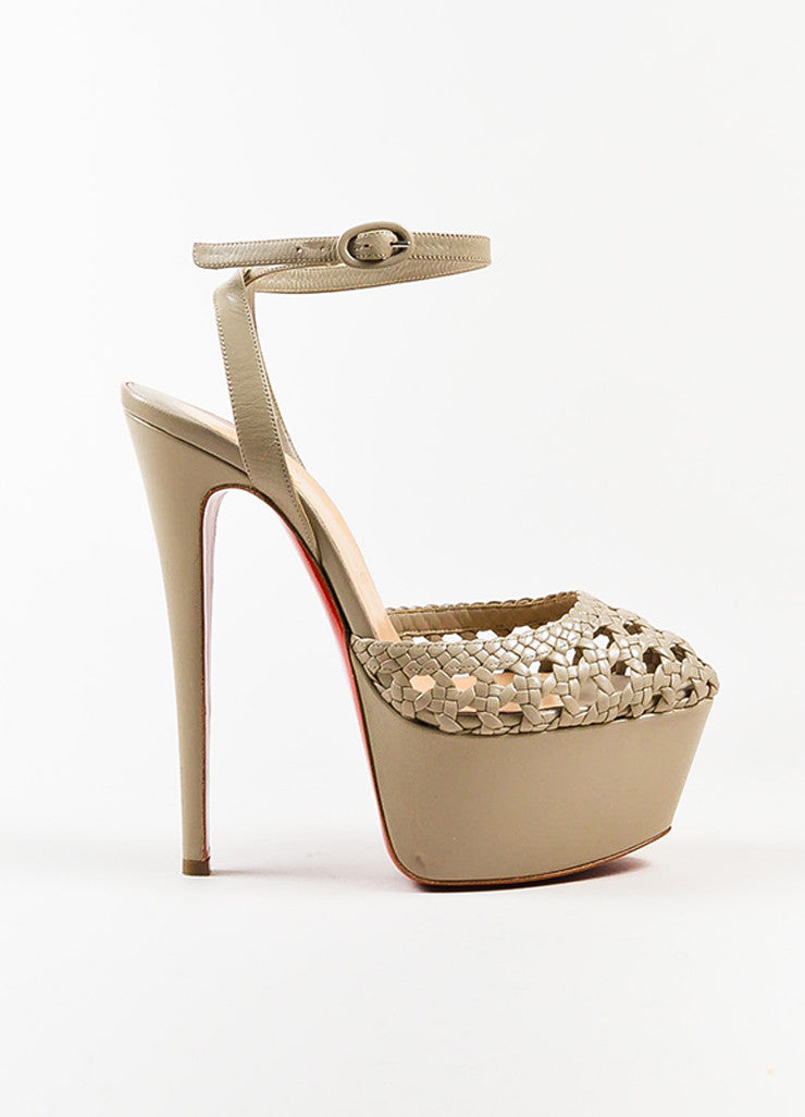Christian Louboutin Taupe Leather Woven Ultra High Platform Sandals Sideview