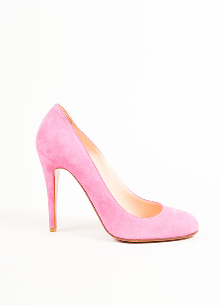 "Christian Louboutin Pink Suede Leather Almond Toe ""Ron Ron"" Pumps"