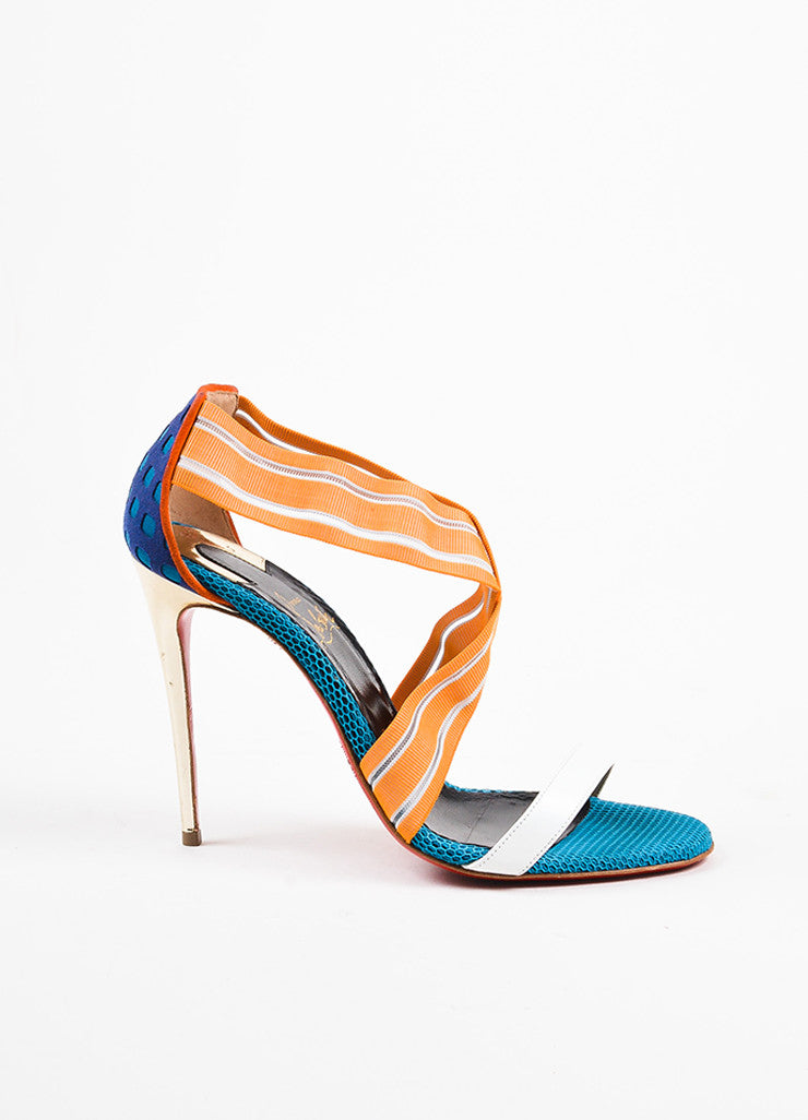 "Christian Louboutin Orange and Blue Mesh Leather ""Elastagram"" Strap Sandals Sideview"