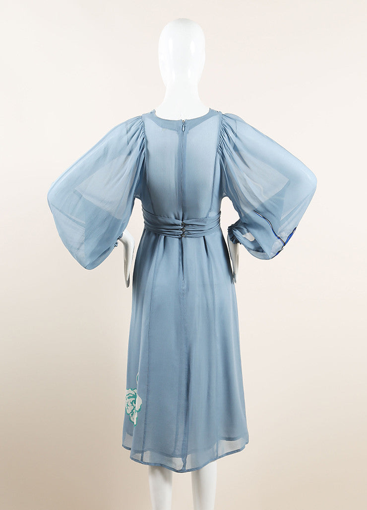 Dries Van Noten Light Blue Silk Floral Print Semi-Sheer Long Sleeve Dress Backview